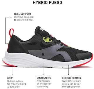 PUMA Hybrid Fuego Puma Black-Yellow Alert Men Running Shoes