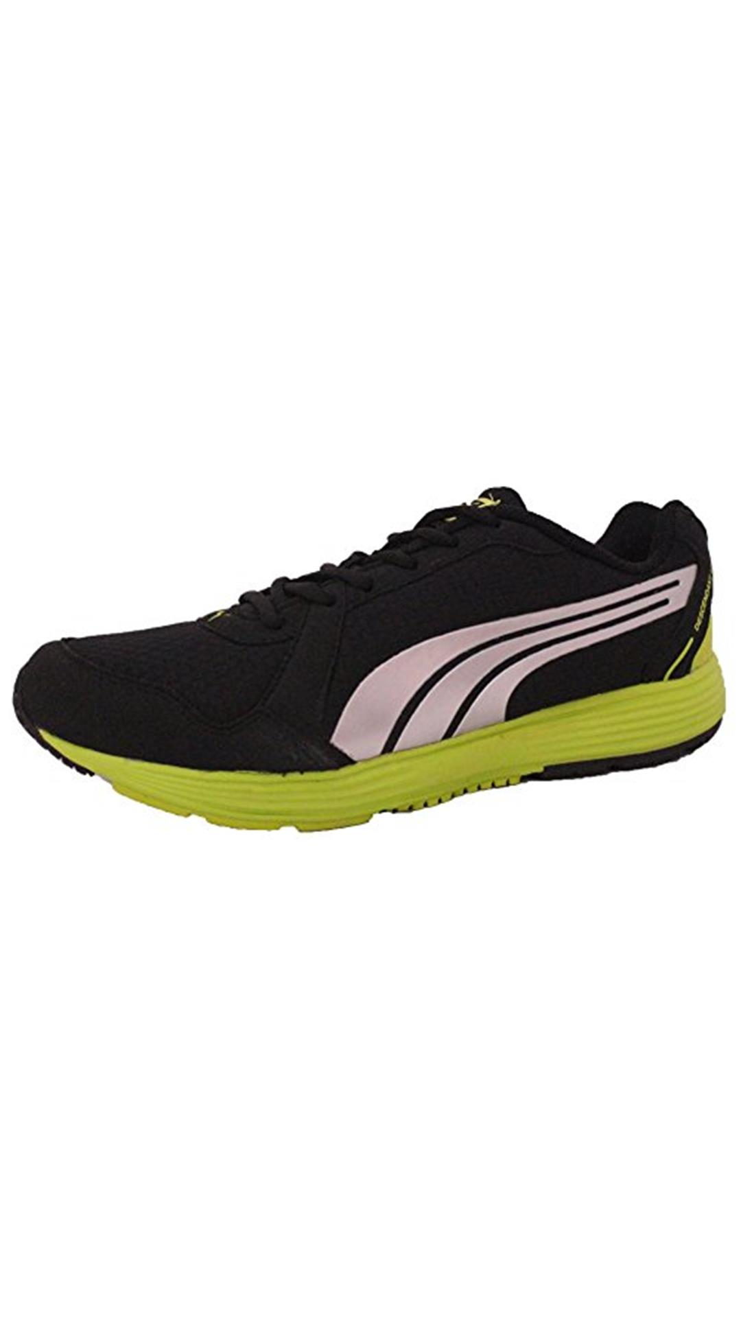 Puma Men's Descendant v2 IDP Black-Puma Silver-Lime Punch Sneakers - 8 UK/India (42 EU)