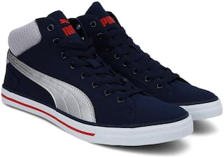 Puma Delta Mid NU IDP Peacoat-High Risk Red-P Men Blue Sneakers - DELTA MID NU IDP PEACOAT-HIGH RISK RED-P - 367772