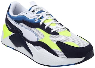 Puma RS-X  Twill AirMesh Chunky Sneakers Shoes For Men (White)