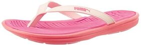 Puma Women's Rose Red and Fluorescent Peach Clogs and Mules - Flip Flops - Plastic Moulded - 5 UK/India