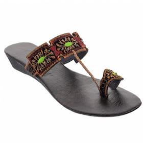 Women One Toe Flats ( Black )