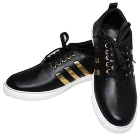 Raj Black Gold Synthetic SneakersSneakers Shoes