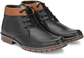 RAY J Men Black Ankle Boots - RJ12010-BLACK - RJ12010
