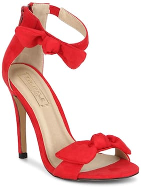 Truffle Collection Red Bow Ankle Strap Stilettos