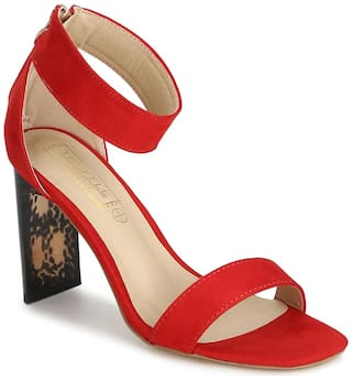 Truffle Collection Red Micro Ankle Strap Slim Block Heel