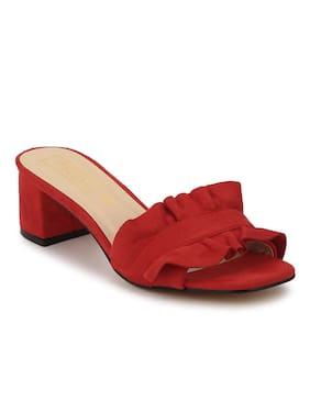 Truffle Collection Red Micro Slip-On Low Block Heels