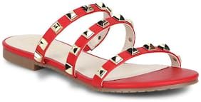 Truffle Collection Red Strappy Studded Slip-On Flats