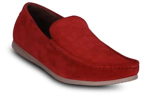 Red-suede Leather-loafers