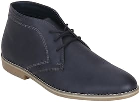 Men Navy Blue Chukka Boots