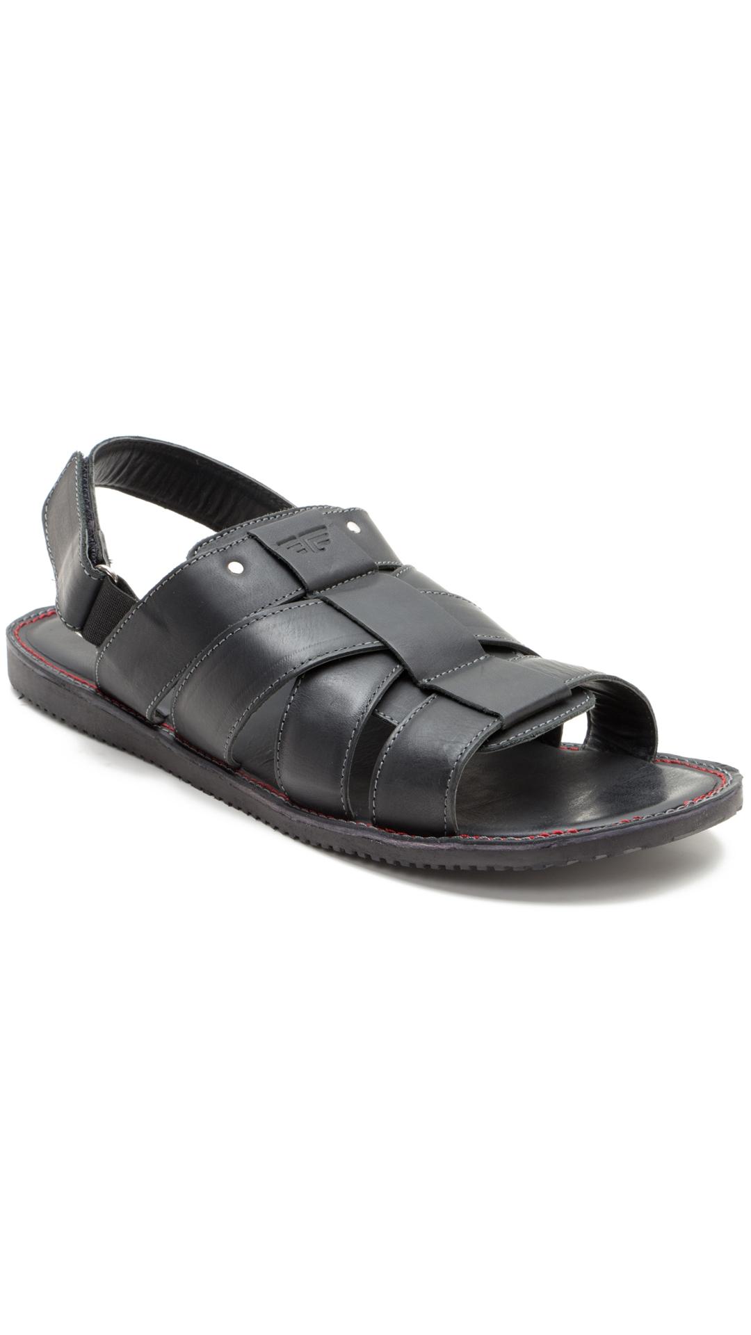 Red Tape Men Black Leather Sandals