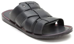 Red Tape Men Black Leather Slippers-RSE0101 BLK-7
