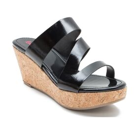 Red Tape Black Wedges
