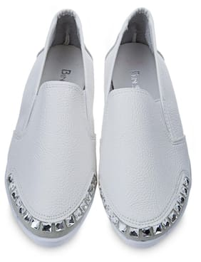 Rhinestone Round Toe Slip On Casual Flat Shoes
