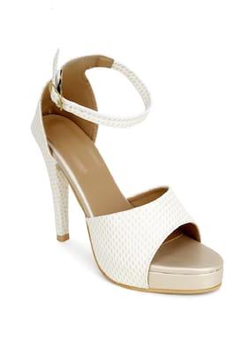 RIMBOLL Women Cream Heeled Sandals