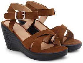 RIMBOLL Women Tan Wedges