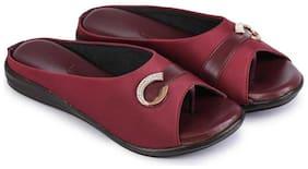 RIMBOLL Women Maroon Sandals