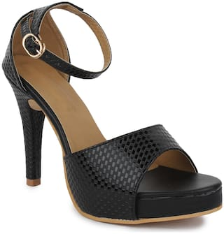 RIMBOLL Women Black Heeled Sandals