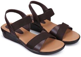 RIMBOLL Women Brown Sandals