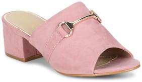 Truffle Collection Rose Dust Microfibre Low Heel Mule Sandals