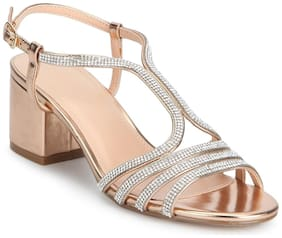 Rose Gold Diamante Multi-Strap Sandals