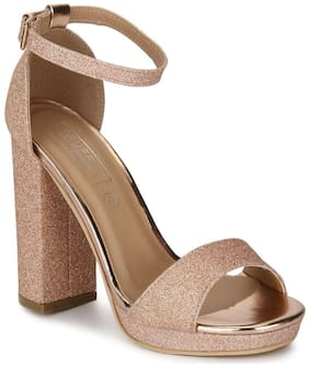 Truffle Collection Rose Gold Glitter Pumpped Ankle Strap Block Heels