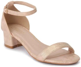 Truffle Collection Rose Gold Micro Ankle Strap Block Heels