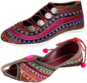 RYAG Women Flat Ethnic Bellies and Shoes Combo Pack