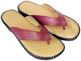 Saanvishubh Comfort Doctor Sole Faux Leather PU Sole Slippers for Girls and Women - Maroon