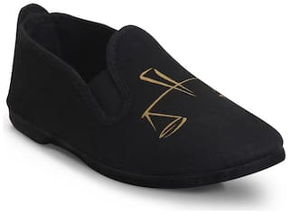 Scentra Black Canvas Casual Shoes