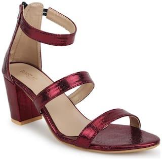 Scentra Women Maroon Heeled Sandals -