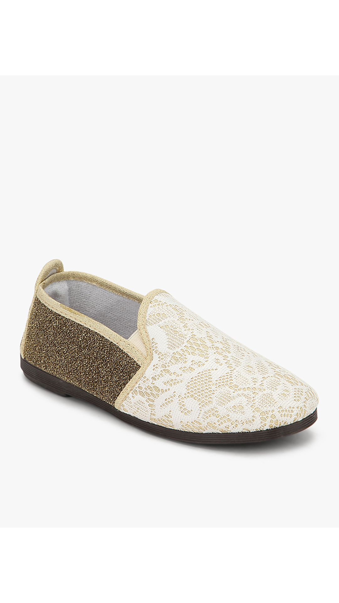 Scentra Gold And White Casual Shoes