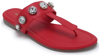 Scentra Women Red T-strap flats