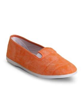 Scentra Women's Orange Canvas Casual Shoes