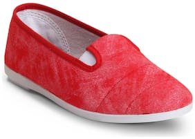 Scentra Women's Red Canvas Casual Shoes