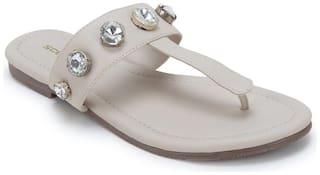 Scentra Women White T-strap flats