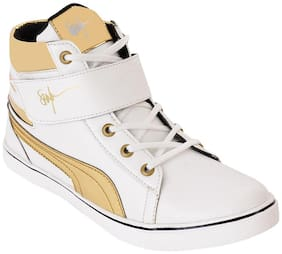 Semana White & Golden Casual Shoes