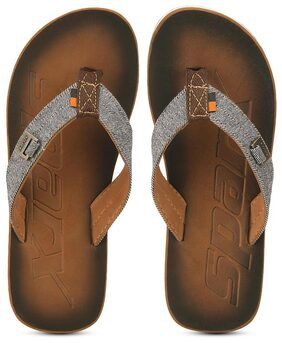 Sparx Men's Brown & White Slipper (SFG-37)