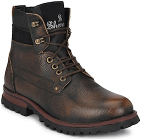 Shences Men Brown Ankle Boots - SHENCES MEN'S BROWN GENUINE LEATHER CASUAL & MID TOP TOUGH BOOTS FOR MEN. - TRS1943BROWN