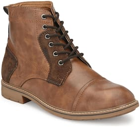 Shences Men Tan Outdoor Boots - SHENCES MEN'S TAN FAUX LEATHER CASUAL BOOTS - TRS9011TAN