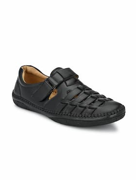 SHENCES Men's Black Faux Leather Casual Sandal