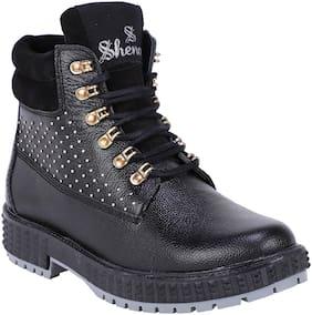Shences Men Black Ankle Boots - SHENCES MEN'S BLACK GENUINE LEATHER CASUAL & MID TOP TOUGH BOOTS FOR MEN. - TRS1944BLACK