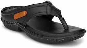 SHENCES MENS BLACK COMFORTBLE CUSHIONED FOOTBED SLIPPER