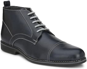 Shences Men Blue Ankle Boots - SHENCES MENS BLUE FAUX LEATHER CASUAL BOOT - TRS1910BLUE