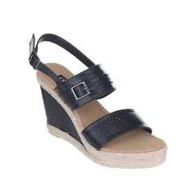 Women Sherrif Shoes Black Faux Leather Wedges