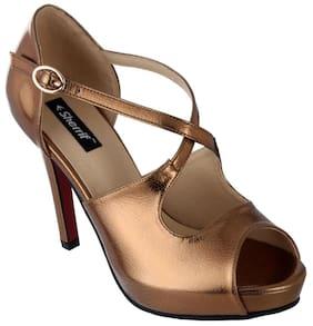 Women Sherrif Shoes Red Faux Leather Heels