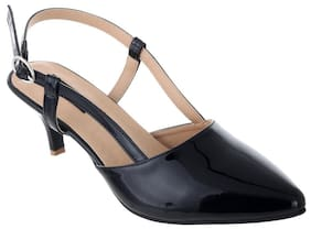 Women Sherrif Shoes Black Faux Leather Heels