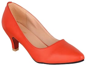 SHERRIF SHOES RED LOW HEELED PUMPS