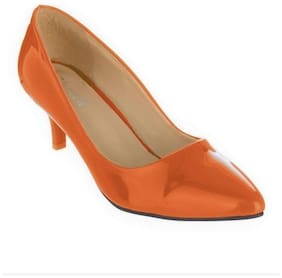 SHERRIF SHOES ORANGE LOW HEELED PUMPS