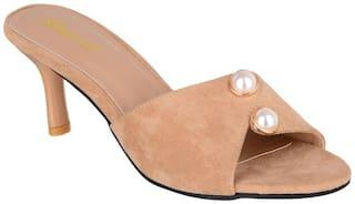 Sherrif Shoes beige slip-on kitten heels